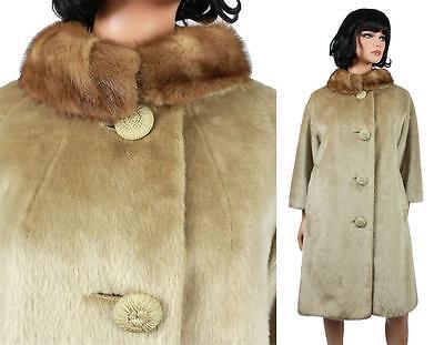 Faux Fur Winter Coat M Vintage 60s Beige Light Brown Tan Real Mink Fur Collar