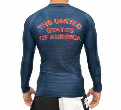 New Fuji USA 2.0 MMA BJJ Jiu Jitsu LongSleeve Long Sleeve LS Rashguard Blue