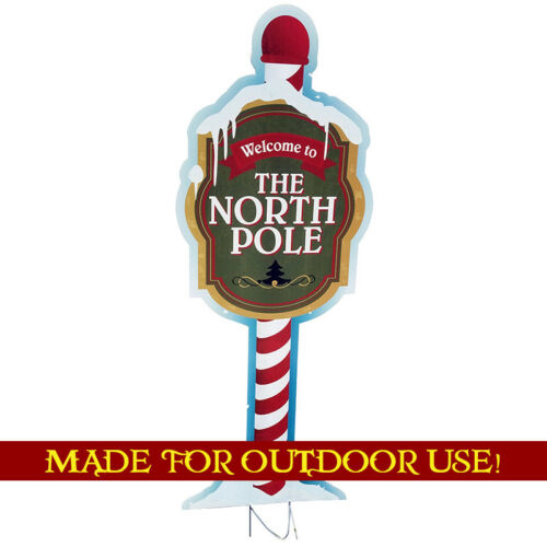 WELCOME TO THE NORTH POLE Plastic Outdoor YARD SIGN Weather Resistant Christmas