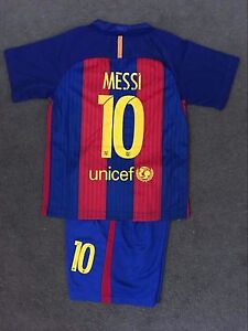 new product 13d9f 2f718 Details about New 2017 Kids Barcelona Set Soccer Jersey #10 Messi Top+Shorts