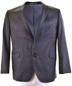 Austin Reed Mens 2 Button Blazer Jacket Size 44 2xl Black Wool Slim Fit Gj06 Ebay