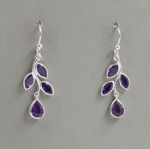 Details about  /Peridot Amethyst Faceted Birthday/'s Gift Earrings 925 Sterling Silver SE2948