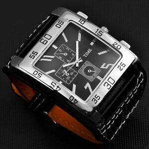 Superbe-Montre-Classique-Rock-VINTAGE-PUNK-Homme-Large-Bracelet-Cuir-Men-Watch