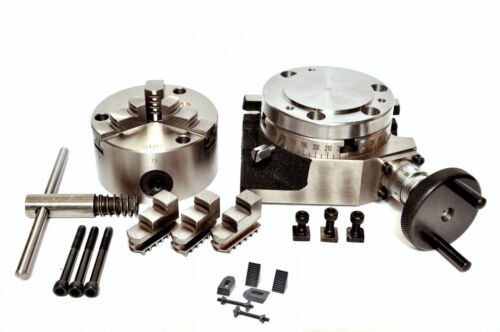 """Rotary Table 4/"""" with 80mm Self Centering Chuck With Backplate /& Clamping Kit"""