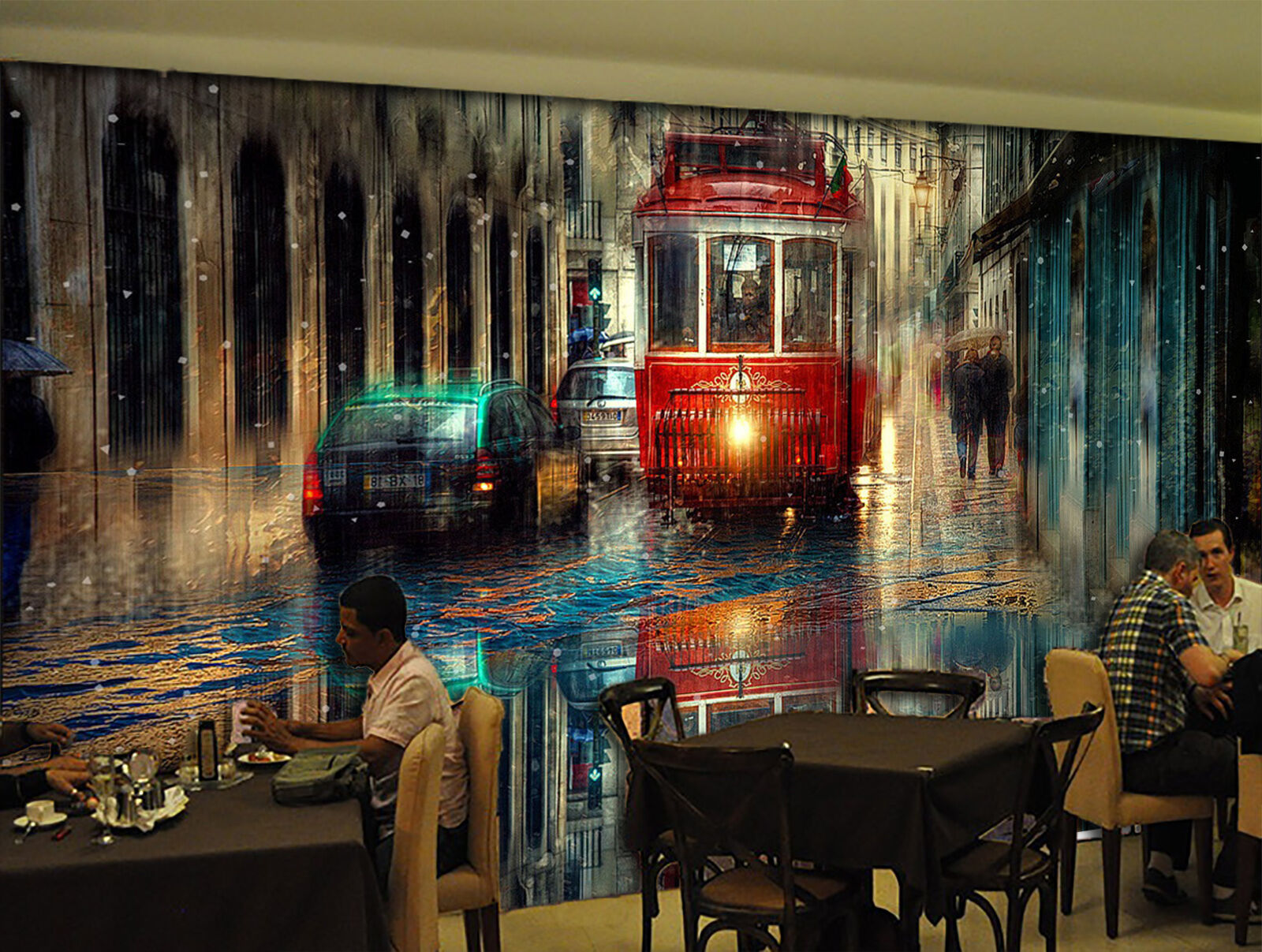 3D rain Bus road Wall Paper Print Decal Wall Deco Indoor wall Mural