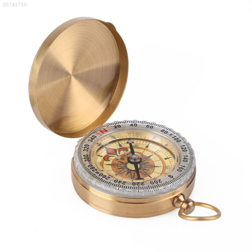 38CB Pocket Copper Shell Compass Flip Up Cover Shakeproof Direction Recognition