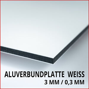aluverbundplatte wei 3 mm dibond aluminium kunststoff alu verbundplatte ebay. Black Bedroom Furniture Sets. Home Design Ideas