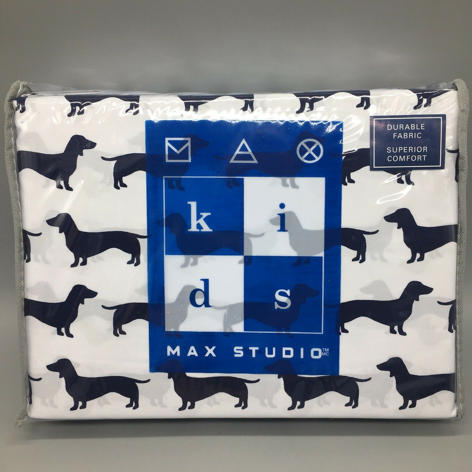 3pc Max Studio Dachshund Dog TWIN Sheet Set Weiß Navy Blau Boys Kids NEW