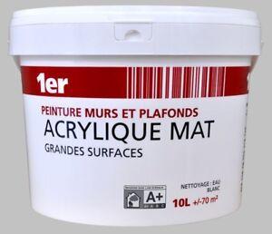 Peinture Murs Plafonds Acrylique Eau 10 Litres Blanc Mat Murs Sans