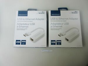 Lot-of-2-Insignia-USB-to-Ethernet-Adapters-White-Model-NS-PU98505