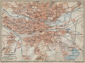 Nuremberg Bavaria Karte 1914 Old Map Cooperative NÜrnberg Antique Town City Stadtplan