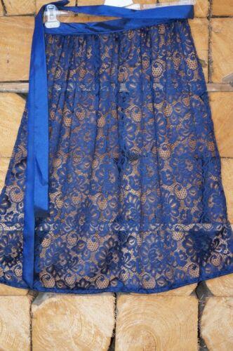 70cm Dirndl Schürze Spitze in blau Spitzenstoff nachtblau Neu!