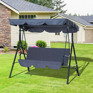 Outsunny-Porch-Glider-Bed-3-Seater-Swing-Chair-Portable-Patio-Grey
