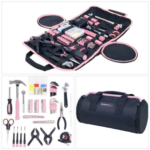 86-Piece Household Hand Tools Set Roll-Up Bag Kit Pink Girls Ladies Womens Hers