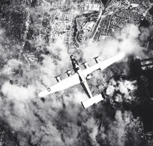 B/&W WW2  Photo B-24 Liberator Bomber Flak Damage  WWII USAAF World War Two USAAC