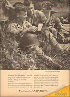 1940's Vintage Ad for Kodak`Snapshots`photos`WWII era, GI's (012315)