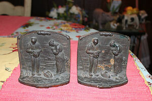 Antique-Gleaners-Cast-Iron-Bookends-Pair-Farmers-Baby-Saying-Prayer