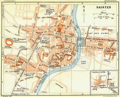 Saintes 1926 Old Vintage Map Plan Chart Europe Maps France