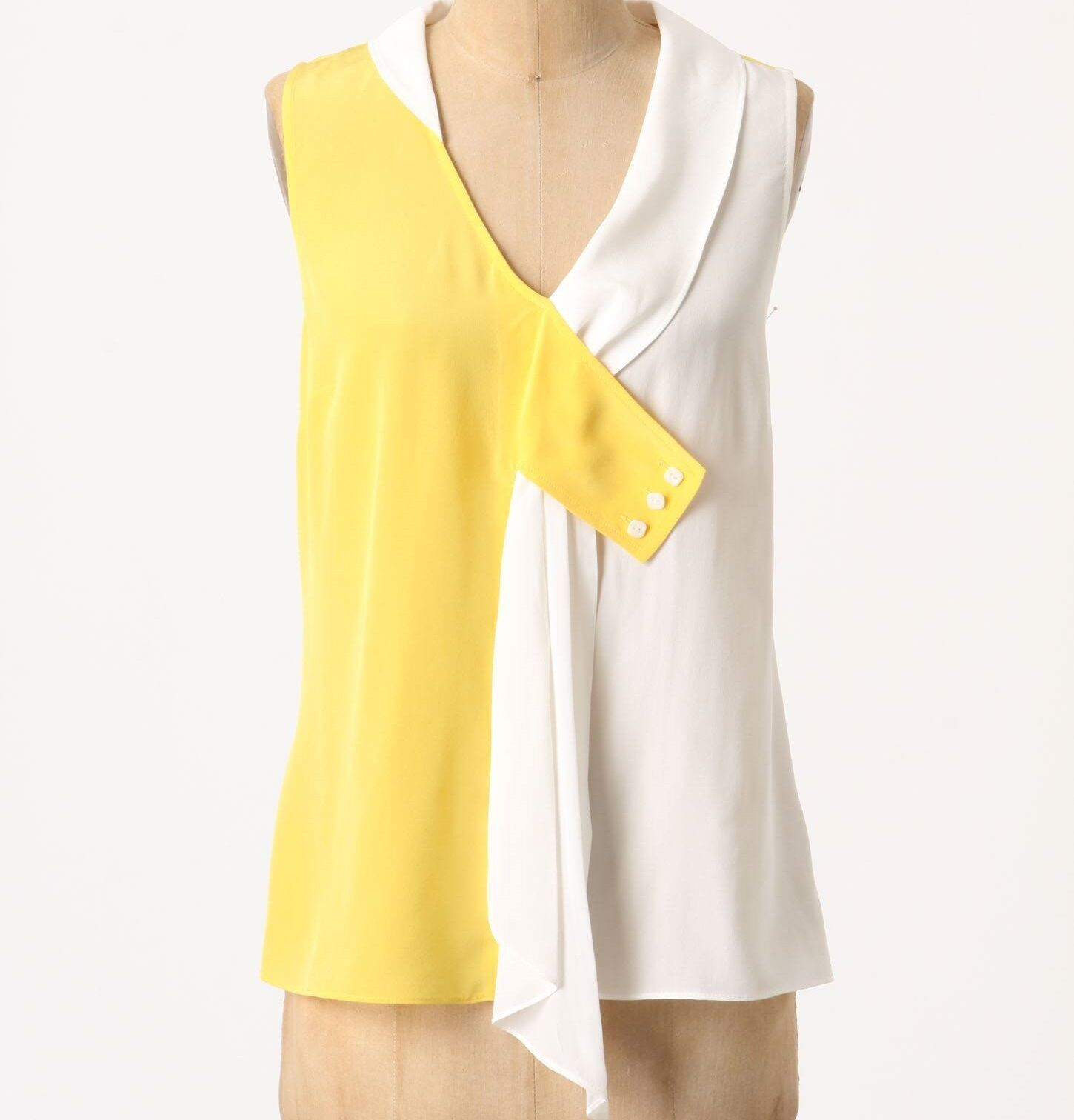 Maeve Silk Drapey Dyad Tank Blouse Top Size 4 Yellow MOT NW ANTHROPOLOGIE Tag
