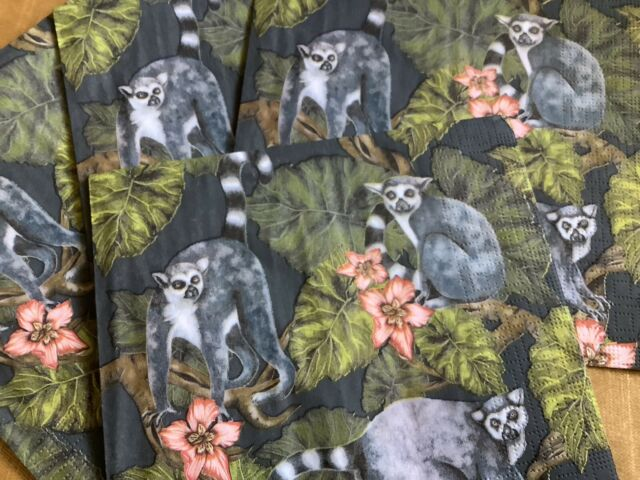 4 x Paper Napkins Lemur Decoupage Napkin Art 3 Ply Blue Green Grey Jungle Lemurs
