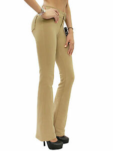 New-Womens-Stretch-Brazilian-Moleton-Bootcut-Reg-Leg-Jeggings-Pants-S-XXL-BEV111