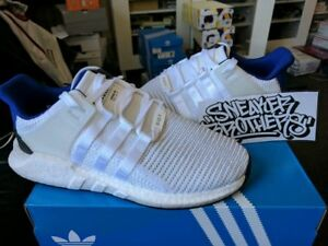 new product 6b17d 481ed Details about Adidas Equipment EQT Support Boost 93-17 White Royal Blue  Black BZ0592 Primeknit