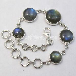 Round-Labradorite-Bracelet-8-034-925-Sterling-Silver-Ladies-Stone-Jewelry
