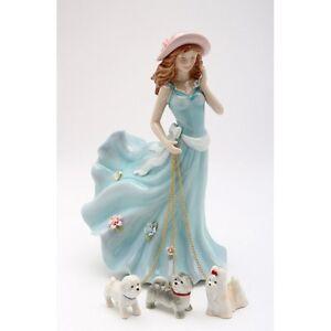Neuf Coloré Porcelaine Lady Walking 3 Chiens (maltais, Shih Tzu ) Figurine 20928