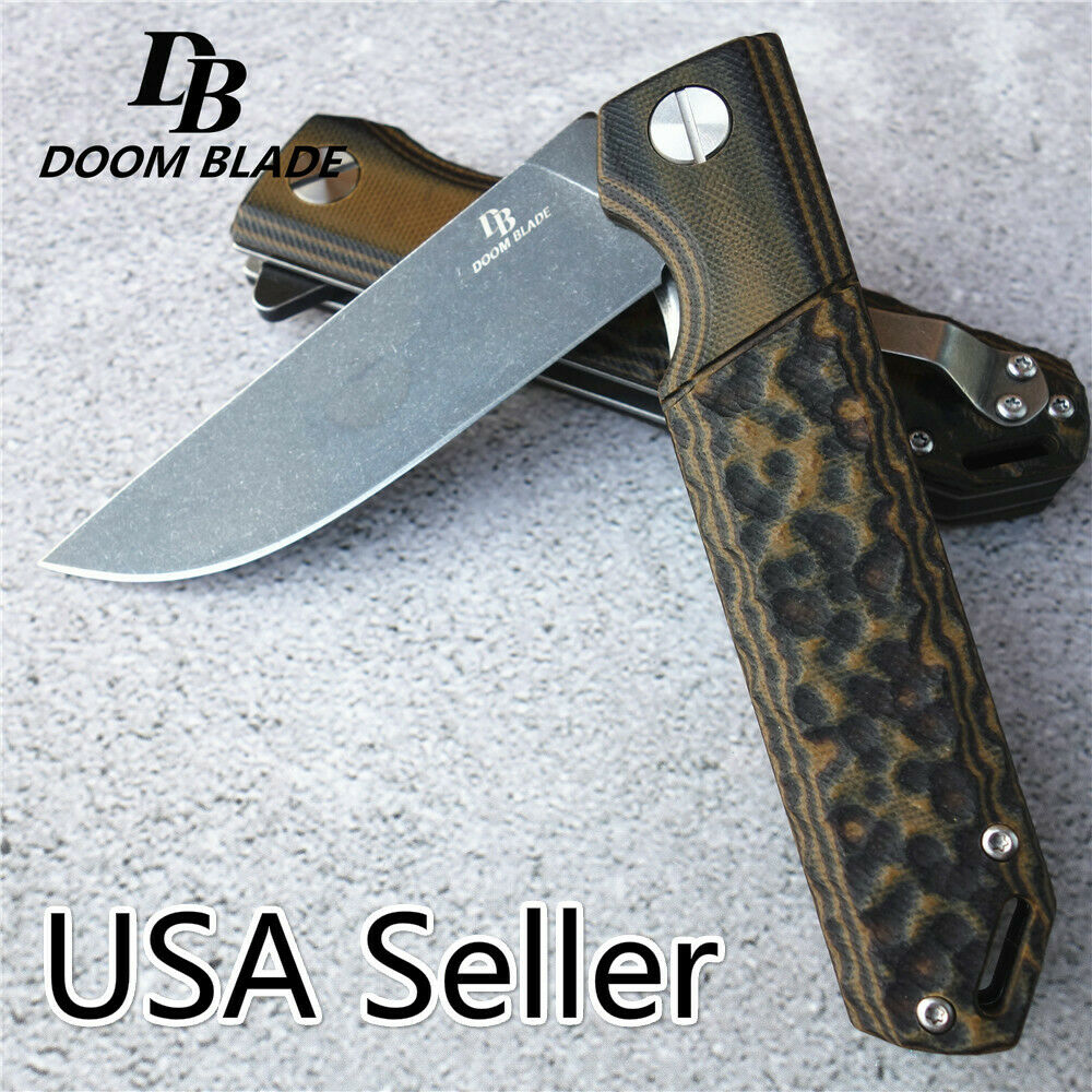 DB Fine Knife Folding D2 Blade G10 Handle Ball Bearing Survival Camping Knives