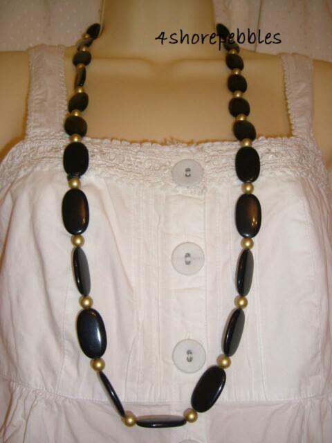 New M&S Per Una Navy Blue Gold Necklace Beads Long Costume Jewellery Bead String