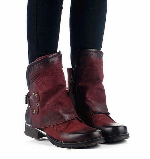 Retro Oxfords femmes Buckle Low Heel chaussures Round Toe Cowboy Punk Ankle démarrage  sgh5