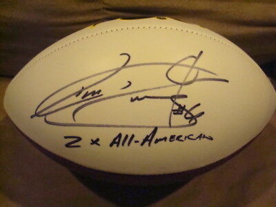Genteel Tim Dwight Autograph Iowa Hawkeyes White Panel Football Signed 2x All American To Have Both The Quality Of Tenacity And Hardness Autographs-original Football