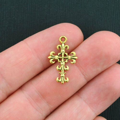15 Cross Charms Antique Gold Tone 2 Sided GC342
