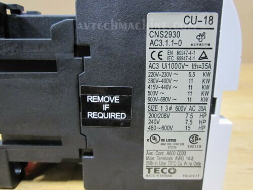 Teco Magnetic Contactor CU-18-3A1a1b-220V CU18H5