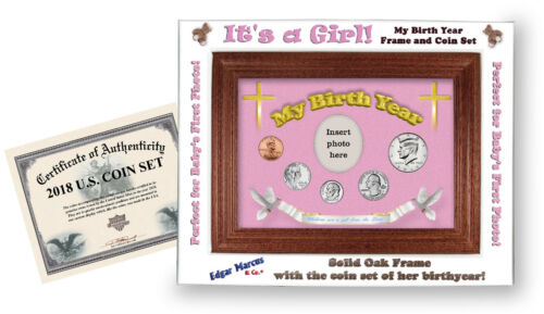 Cross Motif 2016 Framed Birth Year Coin Gift Set For Girls