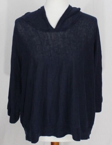 Sweater Eileen Fisher Comfort Blå M Liner Strik Stretch Hooded Dame Organic tHwrPxOqHA