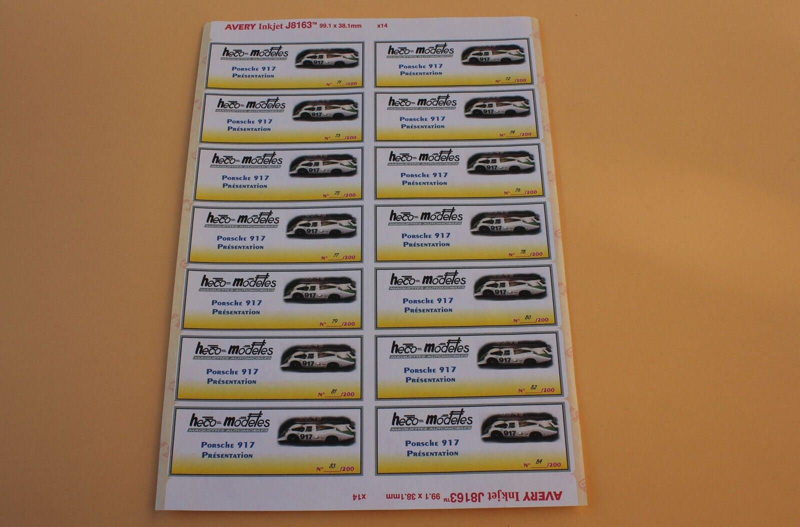 QJb 1 planche 14 ex étiquette autocollant Porsche Porsche Porsche 917 LH Présentation Heco f4aeeb