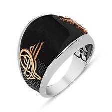 Turkish Ottoman Tughra Black Onyx 925 K Sterling Silver Mens Ring S