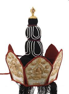 Couronnes Tibetano Coiffre Cerimonia Rituale Buddista Monaco Budda Tibet 26163