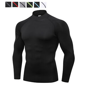 Men-039-s-Compression-Shirt-Mock-Athletic-Sports-Base-Layer-Gym-Long-Sleeve-Wicking
