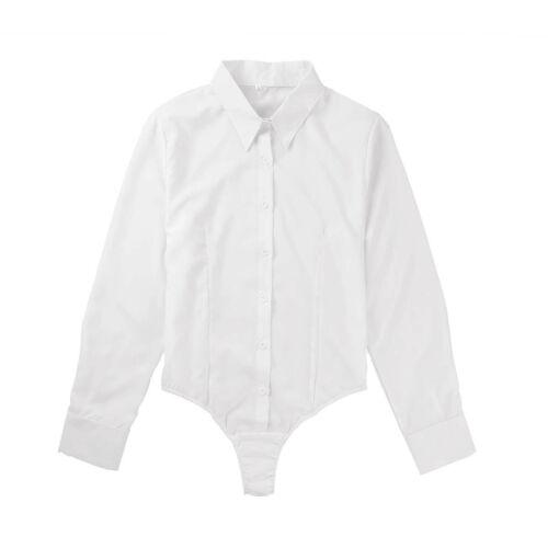 Women Bodysuit Sheer One-Piece Jumpsuit Romper Top Blouse Long Sleeve Shirt Tops