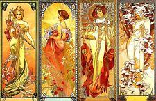 "Alphonse Mucha art nouveau Sticker / decal. The Four Seasons 5"" x 3.25"""