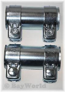 2-St-di-scarico-universale-connettore-per-tubi-50x-54-5x-125mm-Morsetto-doppio-Audi-VW-ecc