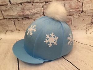 c3896885ac2 SXC Xmas Snowflake Glitter Faux Fur Pompom Riding Hat Silks Rainbow ...