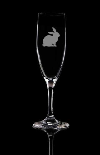 Personalised Glass Bunny Rabbit Champagne Flute Prosecco glass.145