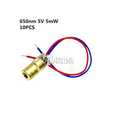 10Pcs Mini 650nm 5mW 5V Laser Red Dot Diode Module Head