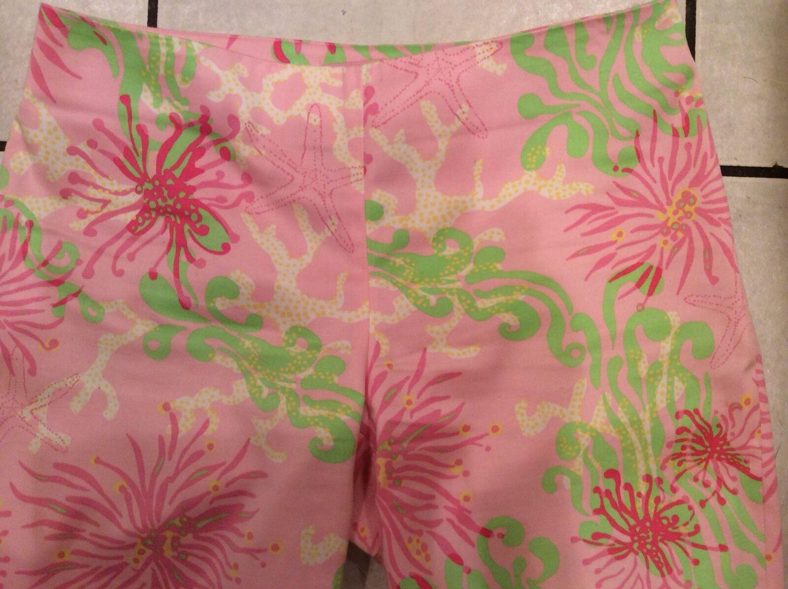 Lilly Pulitzer Resort Bermuda Shorts 2 Pink Green Starfish floral MINT ADORABLE