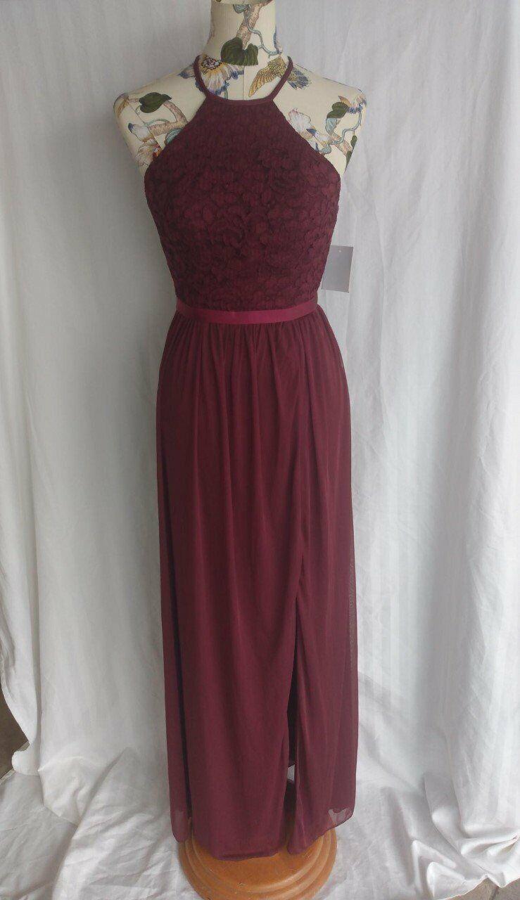 David's Bridal Open-Back Lace Mesh Bridesmaid Dress - NEW - size 2
