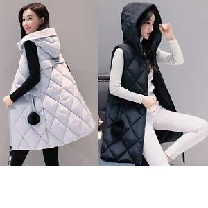 Women Winter Down Vest Jacket Padded Coat Ladies Slim Long Hooded Parka Outwear
