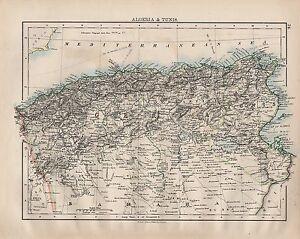 1902 VICTORIAN MAP ~ AFRICA ~ ALGERIA & TUNIS